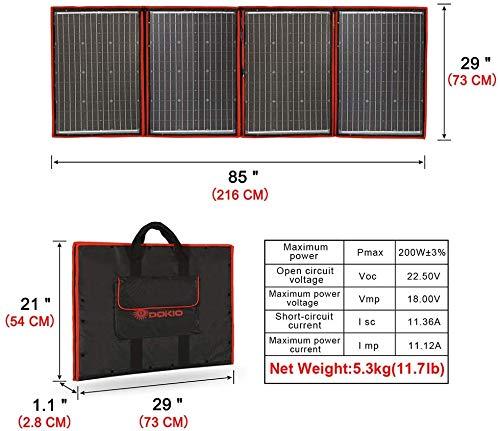 51nGN%2BTisYL DOKIO 200W 18V Faltbar Solar Panel Kit Monokristallines Mit Solarladeregler Und PV-Kabel (Für 12V Kfz Batterie, AGM…