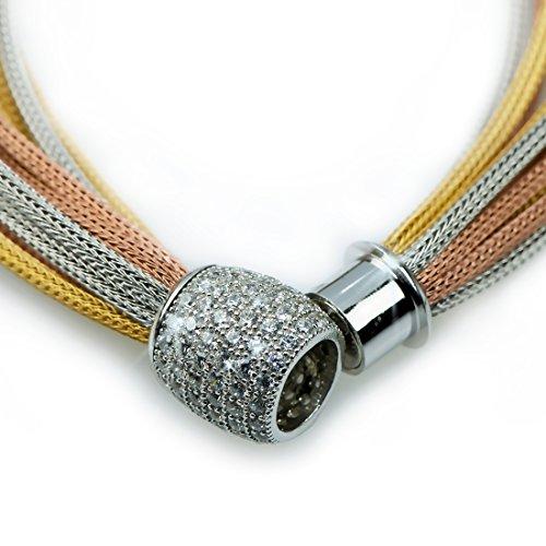 MIA ISA FRANCE - Bracelet argent 925 torsadé 3 coloris BR-NW-32096 - fermoir aimanté