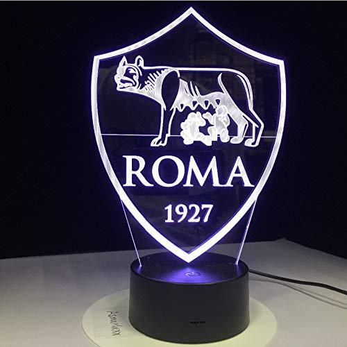 Ganjue Stampa As Roma 3D Usb 3Aa Batteria Led Night Con 7 Colori Cambiamento Interruttore Touch Sensor Decorazioni Per La Casa
