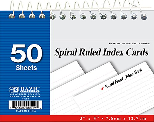 BAZIC 50 Ct. Spiral Bound Index Cards. 3x5 Perforated Flash Cards for School, Stationery, or Office Supplies (White. Case of 36)