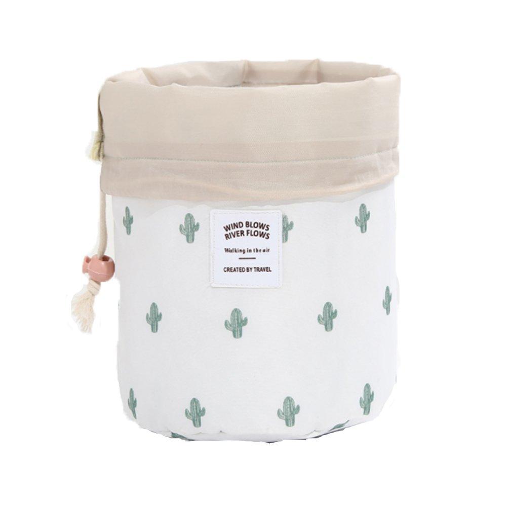 HOYOFO Makeup Bags Travel Drawstring Bags Cosmetics Barrel Bag Quick Packing Storage