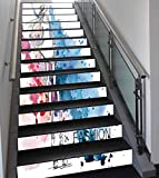 Stair Stickers Wall Stickers,13 PCS Self-adhesive,Girls,Sketchy Fashion Lady with Hat Looking Watercolor Splash Brushstroke Steam Artsy Image,Pink Blue,Stair Riser Decal for Living Room, Hall, Kids Ro