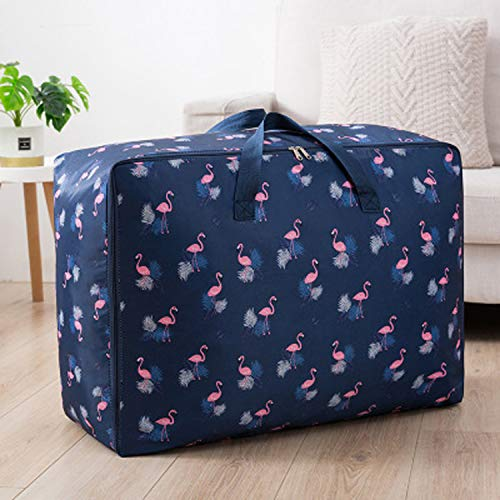 House of Quirk Extra Large Oversized Handy Storage Bag Heavy Duty Travel Luggage Caddy Organizer Laundry Bags Duffel Space Saver with Web Handles for Quilt Beddings Blanket - Blue Flamingo 8