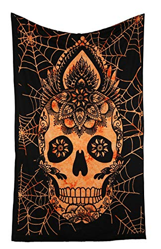 RAJRANG BRINGING RAJASTHAN TO YOU Halloween Decoration Tapestry - Spider Web Wall Hanging Skull Design Skeleton Tapestries Bedroom Dorm Decor - Orange - 84x54 Inches ()
