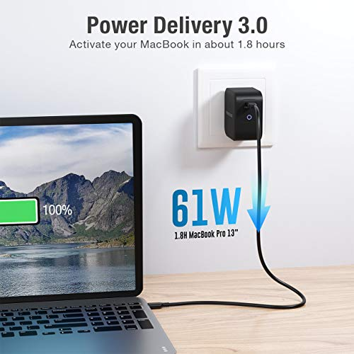 USB C Charger, POWERADD 61W Wall Charger [GaN Tech] Type C Fast Charging Power Adapter PD Charger with Foldable Plug Compatible with MacBook Pro/Air iPad Pro iPhone 11 Pro Max X Google Pixel and More