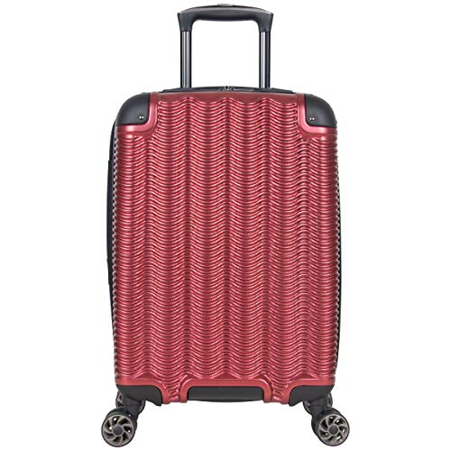 "Kenneth Cole Reaction Wave Rush 20"" Lightweight Hardside PET 8-Wheel Spinner Expandable Carry-On Suitcase, Warm Red"