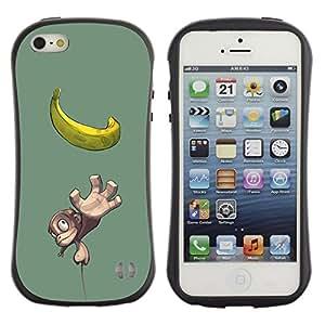 Suave TPU GEL Carcasa Funda Silicona Blando Estuche Caso de protección (para) Apple Iphone 5 / 5S / CECELL Phone case / / Cute Small Monkey & Banana /