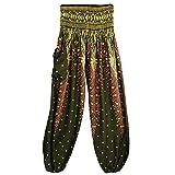 Rurah High Waist Yoga Pants Yoga Hippy Bohemian Style Pants One Size,Dark green
