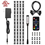 LED Strip Lights, HitLights Waterproof 4 Pre-cut 12Inch/48Inch RGB LED Strips Kit, Flexible Color Changing SMD 5050 UL-Listed LED Accent Kit with RF Remote, 15W Power Supply and Connectors