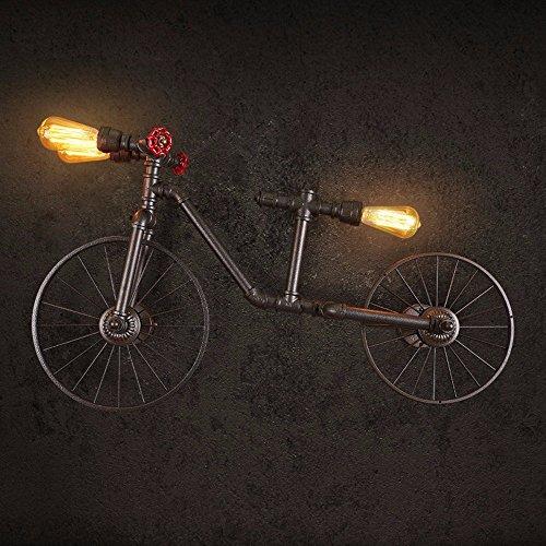 DIDIDD Vintage luces restaurante bicicleta tubo de agua personal pared dormitorio luz de la barra