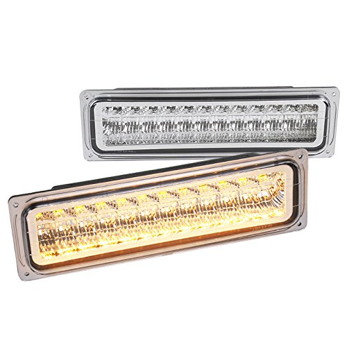 Chevy C10 GMC C/K Chrome Clear LED Bumper Parking Lights Left+Right - Chevrolet Tahoe Cornering Light