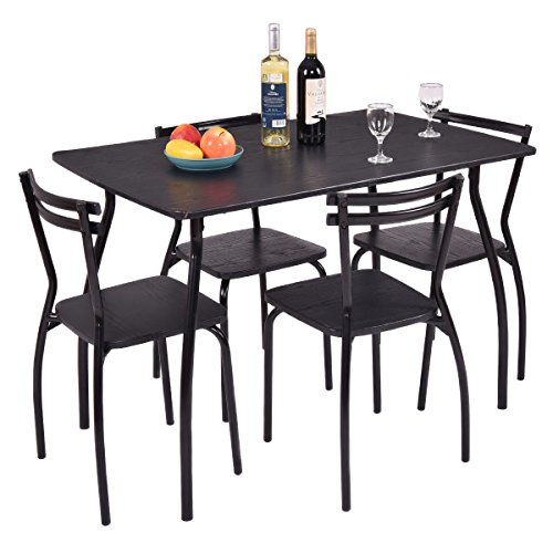 5 pcs of Dining Set Table with 4 Chairs Home Kitchen Room Breakfast Furniture