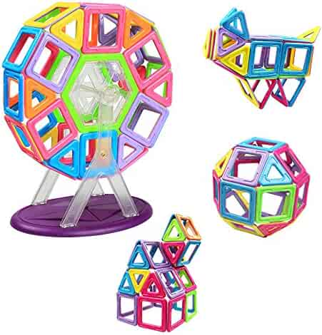 Magnetic Blocks, Innoo Tech Frreis Wheel Magnetic Building Blocks, Instruction Booklet Included, Magnetic Construction Kids Toys, Educational Toys for Toddlers & Kids, 46 Pieces Magnetic Shapes