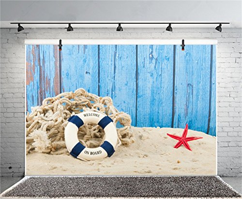 CSFOTO 5x3ft Background Lifebuoy Starfish Nautical Theme Birthday Party Decor Photography Backdrop Rustic Blue Plank Welcome to Board Fishing Nets Child Kid Photo Studio Props Polyester Wallpaper by CSFOTO (Image #1)