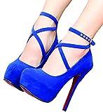 LongSale Womens Matte Lace Up Knee High Platform Pumps Shoes 35 Blue