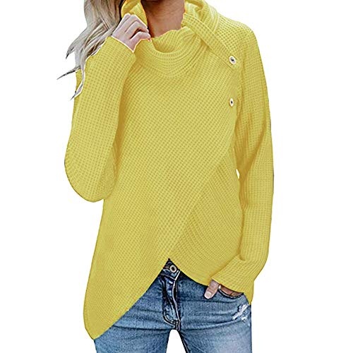 Sweater for Womens, FORUU Christmas Thanksgiving Friday Monday Under 10 Womens Long Sleeve Button Cowl Neck Casual Knitted Pullover Tunics
