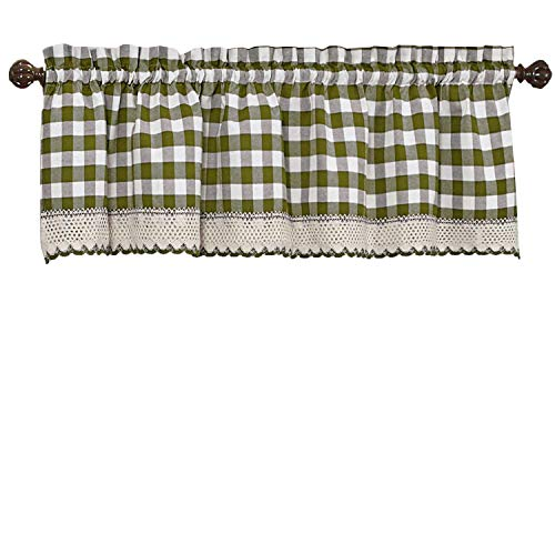 GoodGram Buffalo Check Plaid Gingham Custom Fit Window Curtain Treatments Assorted Colors, Styles & Sizes (Single 14 in. Valance, Sage)