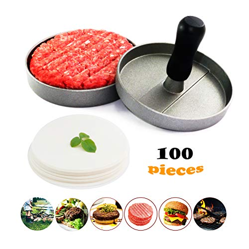 Meykers Burger Press 100 Patty Papers Set - Non-Stick Hamburger Patty Maker Mold with Wax Patty Paper Sheets Meat Beef Pork Lamb Cheese Halal Nut Veg Veggie Burger Maker for BBQ Barbecue Grill Camp