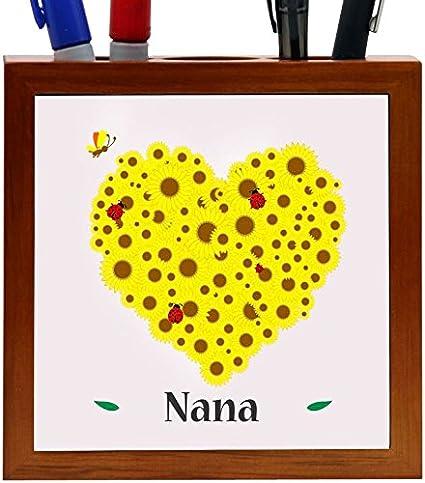 Amazon rikki knight nana name yellow flowers heart design 5 rikki knight nana name yellow flowers heart design 5 inch tile wooden tile pen holder mightylinksfo