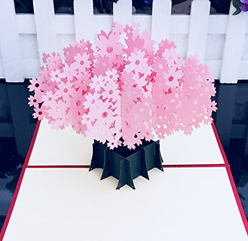 Blossom Card (Cherry Blossom Pop Up Card By ImagineV -3D Card, Thank You Cards For Birthday Cards, Anniversary, Father's Day Card, Baby Shower Card, Graduation Cards, Summer Card, Greeting Cards (15x15))