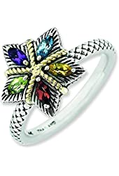 2.5mm Sterling Silver and 14k Stackable Expressions Gemstone Antiqued Ring - Ring Size Options: 10 5 6 7 8 9