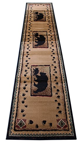 Cabin Lodge Long Runner Area Rug Bear Cub Image (2 Feet 4 Inch X 10 Feet 10 Inch) Runner -
