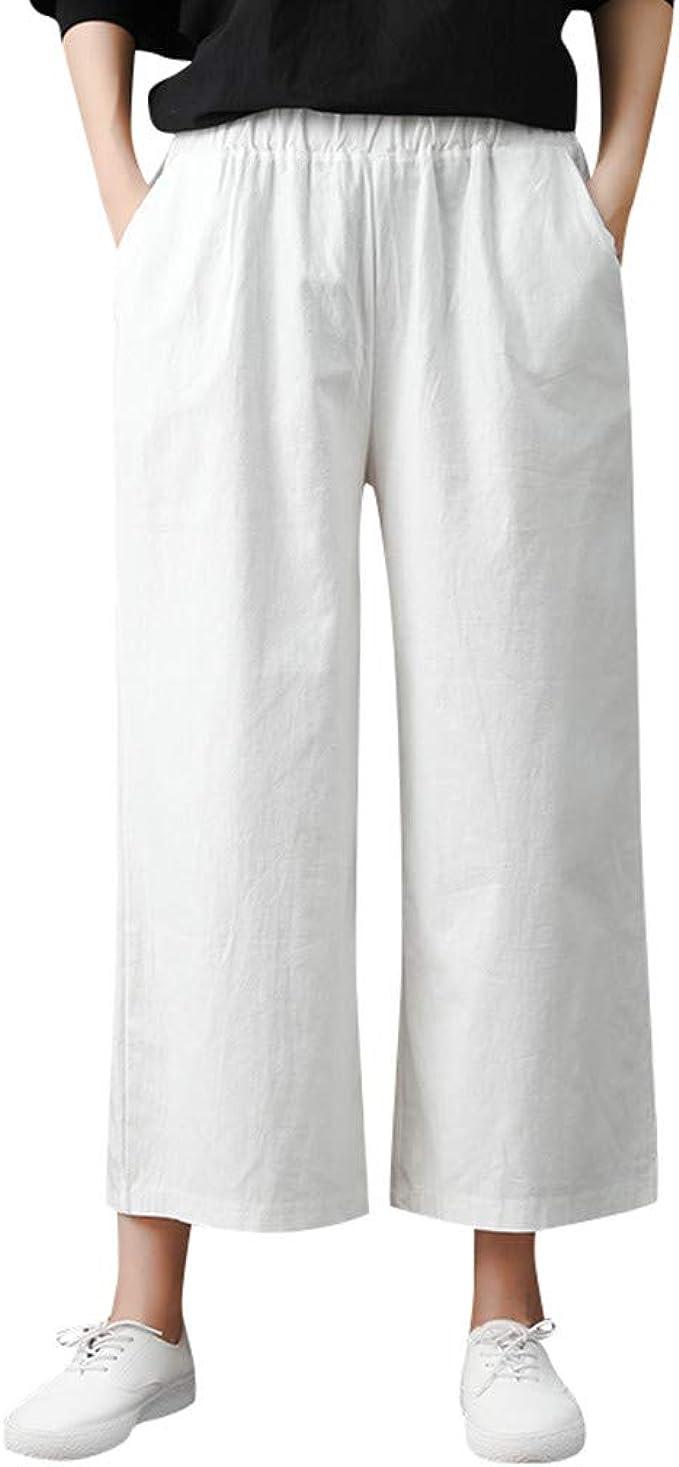 FEDULK Pantalones Informales Sueltos para Mujer, Color sólido ...