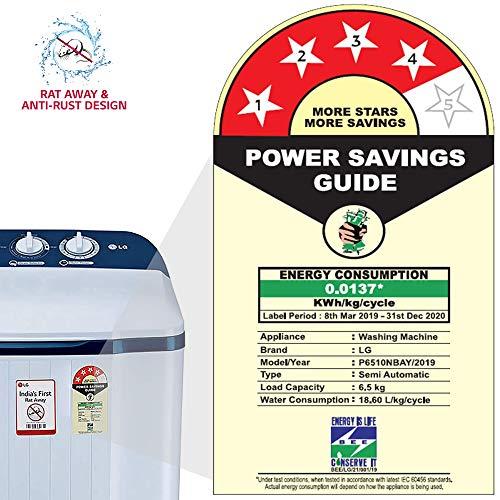 LG 6.5 Kg 4 Star Semi-Automatic Top Loading Washing Machine (P6510NBAY, Dark Blue, Rat Away Technology) Discounts Junction