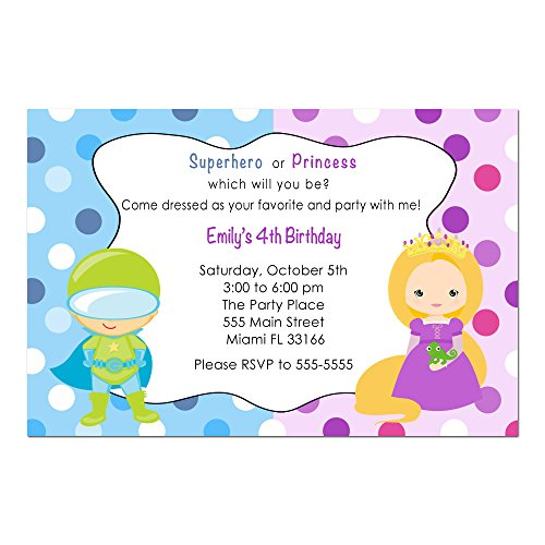 30 Invitations Superhero Princess Girl Boy Birthday Party Personalized Cards + 30 White Envelopes