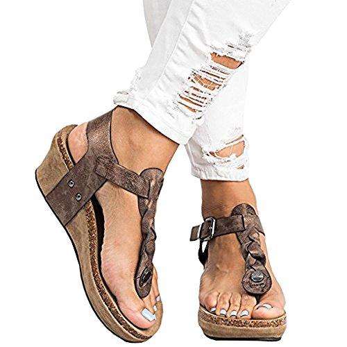 Compensé Marron Mocassins Boucle Bout Été Toe Minetom Femme Sandales Mode Pente Ouvert Talon Hauts Tongs Clip Chaussures ICTawqC