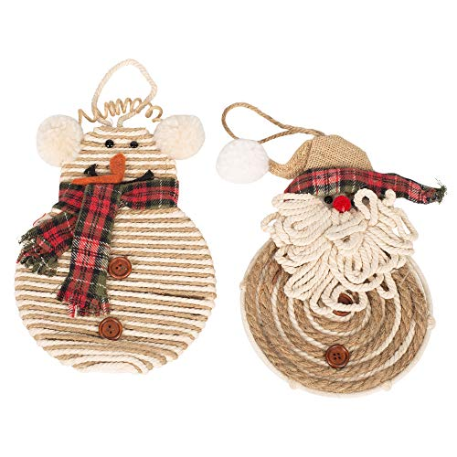 Midwest-CBK Santa and Snowman Holiday Cream 13 x 6 Jute Cotton Christmas Ornaments Set of 2 (Snowman Christmas Cotton Fabric)