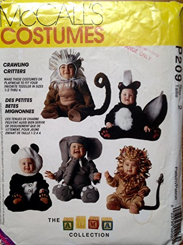 McCall's P209 or 7169 Toddlers Crawling Critters Costumes Size 2