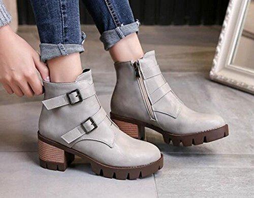 Chfso Womens Trendy Solide Ronde Neus Gesp Rits Mid Dikke Hak Platform Laarzen Grijs