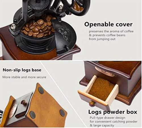 granos de caf/é accesorios de cocina frescos estilo vintage molinillo de mano de madera especias centro de caf/é Molinillo de caf/é manual Infinitely ideal para decoraci/ón del hogar