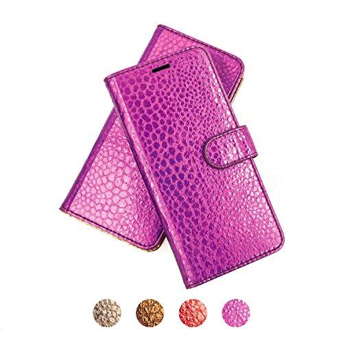 IPHONE 6+ / 6S+ / 7+ PREMIUM Ledertasche, QIOTTI Folio Leder Wallet Case mit [ RFID Schutz Blocking ] [ Standfunktion ] [ Kreditkarten Fächer ] [ Magnetverschluss ] Flip Cover Hülle für BUMBUM ROSE