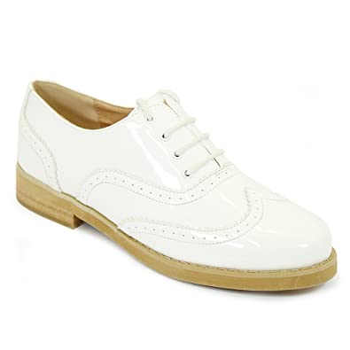 6e5227a30 NEW WHITE BLACK WOMENS GIRLS FLAT BROGUES LACE UP GEEK PUMPS BLACK PATENT SHOES  SIZE 3-8: Amazon.co.uk: Shoes & Bags