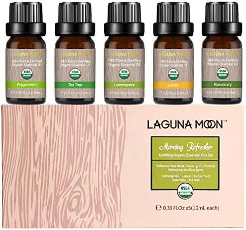 Lagunamoon Essential Oils Top 5 USDA Certified Organic Essential Oil Lemongrass Lemon Peppermint Rosemary Tea Tree for Diffuser,Humidifier,Massage,Aromatherapy,Skin & Hair Care