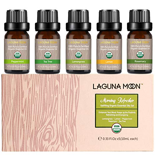 Lagunamoon Essential Oils Top 5 USDA Certified Organic Essential Oil Lemongrass Lemon Peppermint Rosemary Tea Tree for Diffuser,Humidifier,Massage,Aromatherapy,Skin & Hair Care