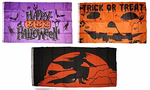 (ALBATROS 3 ft x 5 ft Happy Halloween 3 Pack Flag Set #102 Combo Banner Grommets for Home and Parades, Official Party, All Weather Indoors)