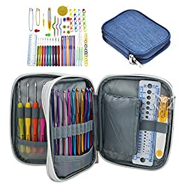 Katech 85-Piece Crochet Accessories Set, Crochet Hooks Kit with Storage Case, Ergonomic Knitting Needles Weave Yarn Kits DIY Hand Knitting Craft Art Tools for Beginners and Experienced Crochet Lovers