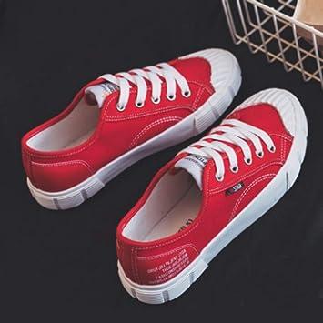 YSFU zapatillas Zapatillas De Lona Blancas para Mujer con Zapatillas De Deporte De Color Sólido Zapatillas De Primavera para Caminar Caminar Amortiguación ...