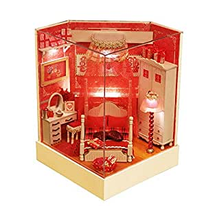 BEAUTY'S CASTLE DIY Wooden Dollhouse LED Lights Miniature Assembly Furniture Kits 3D Puzzle Crafts Toy And Wooden Frame For Creative Kid Birthday Gifts (Happiness In Hand)