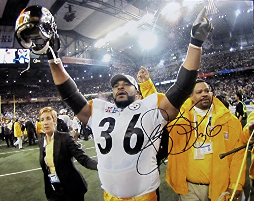 (JEROME BETTIS AUTOGRAPHED Hand SIGNED 11x14 PHOTO PITTSBURGH STEELERS w/COA Super Bowl XL 2005 )