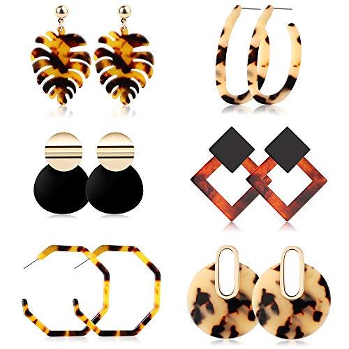 Jstyle 6Pairs Acrylic Hoop Earrings for Women Girls Mottled Drop Stud Earrings Statement Resin Earrings Set Fashion Women Jewelry