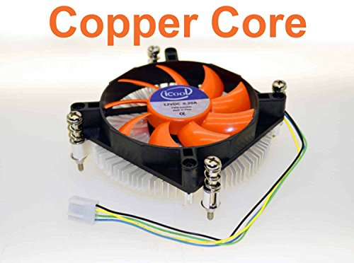 iCool Intel CPU i3 i5 LGA 1150 / 1151 / 1155 Low Profile 1U Copper Core Cooling Fan 95W PWM