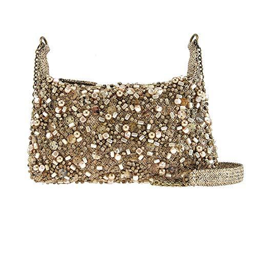 - Mary Frances Highlights Mini Matt & Shiny Beige Gold Tone Beaded Jeweled Baubled Encrusted Evening Mini Handbag Shoulder Bag