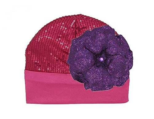 Jamie Rae Hats Raspberry Couture with Sequins Purple Rose, Size: 4-6y
