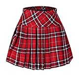 Junior's Plaid Short Sport Elasticated Pleated Skirt Red and White S
