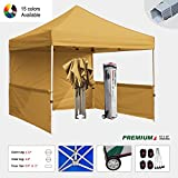 Eurmax Premium 10x10 Trade Show Tent Event Canopy Market Stall Canopy Booth Outdoor Canopy Bonus: Four (4) Weight Bags+Roller Bag (Gold)