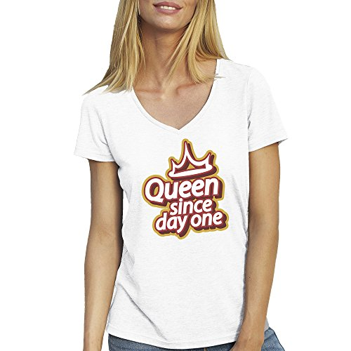 Queen Since Day One Birthday T-Shirt camiseta Cuello V para la Mujer Blanca